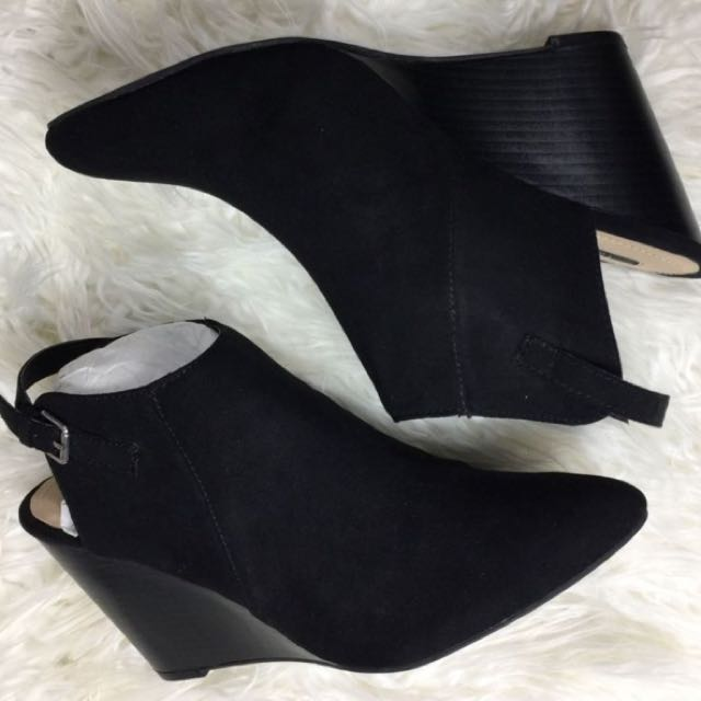 Forever 21 Faux-suede Pointed Bootie Heels Black open back