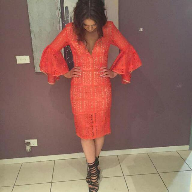 *price dropped* orange lace dress