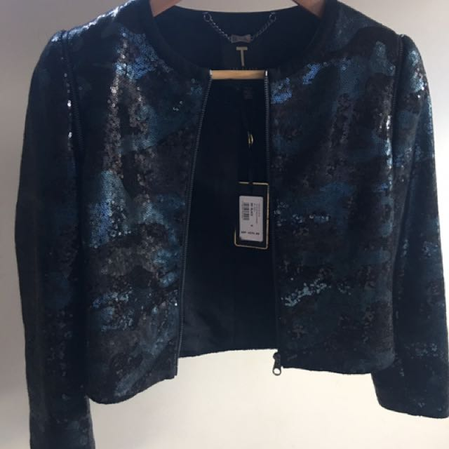 TED BAKER - Jamice Black Camoufl Age Sequin Dressy Jacket RRP $699