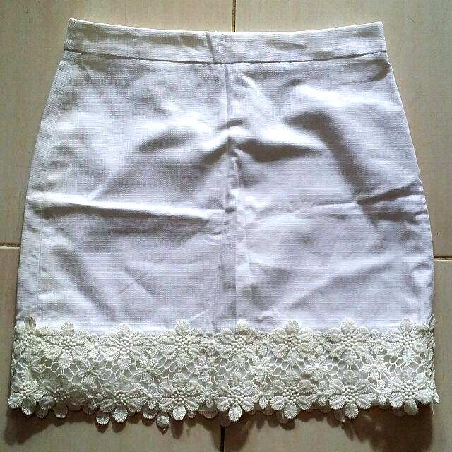 J.Crew White Skirt with Lace