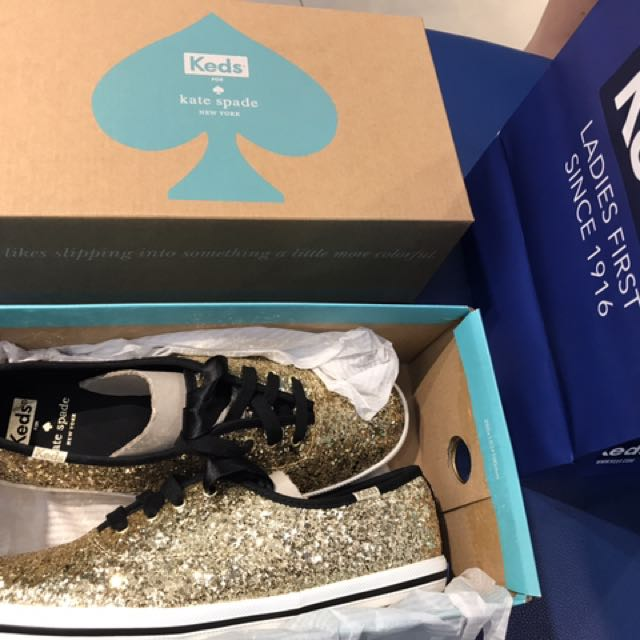 KEDS for Kate Spade Gold Glitter Shoes (Size 38 / 7 1/2 )