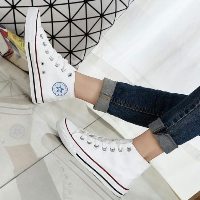 f96f1d73a556eb 🔥Korean Fashion Couple Multi Color Converse Inspired Casual High Top  Canvas Shoes🔥