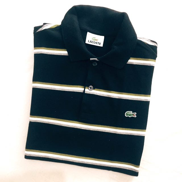 Lacoste Black with Olive, White and Gray Stripes