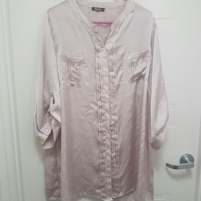 Ladies Button Up Satin Top