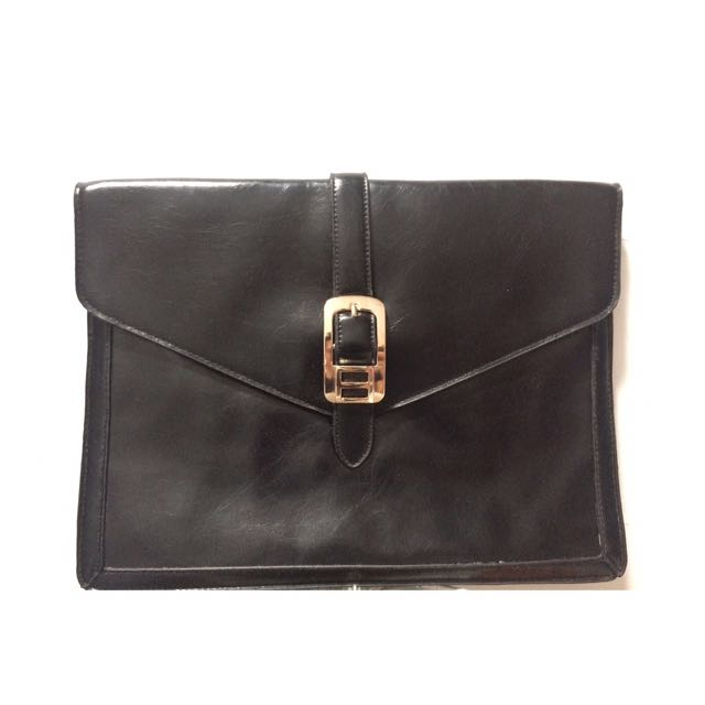 Black Clutch With Buckle
