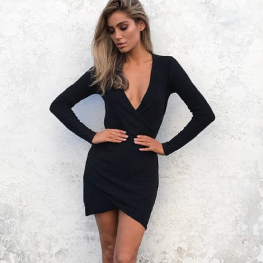 Long Sleeve Black Cross over Dress