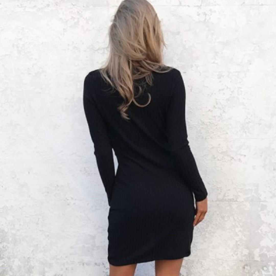 Long Sleeve Black Cross over Dress