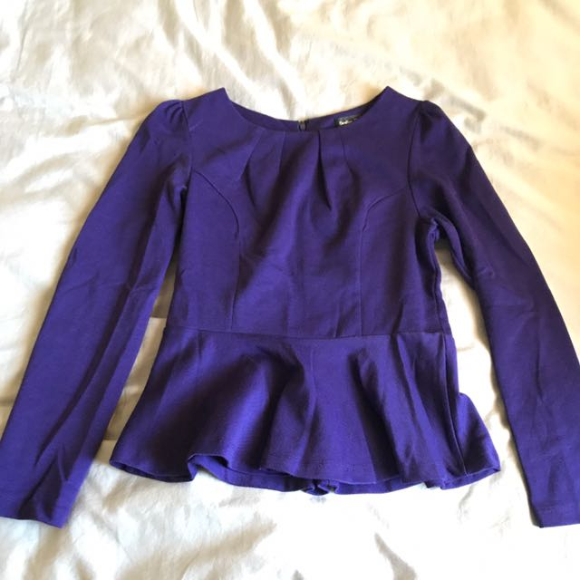 Long Sleeve Purple Peplum Top
