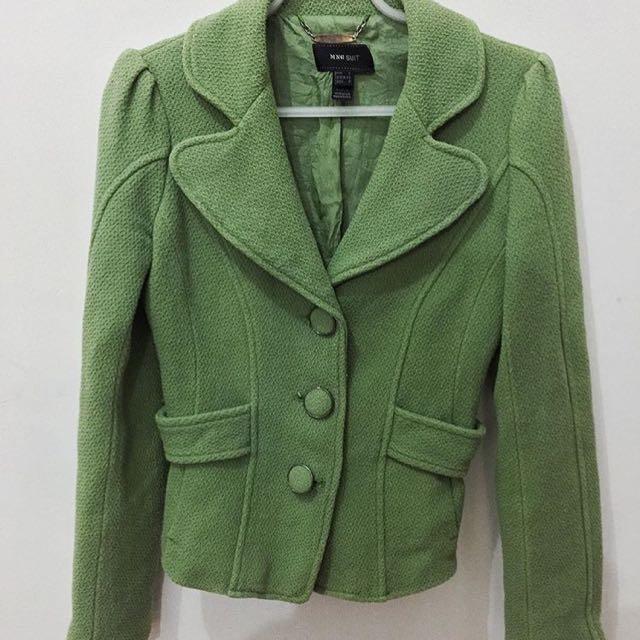 MANGO Green Blazer Coat