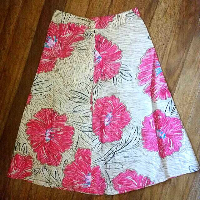 Mid- Length Floral Skirt