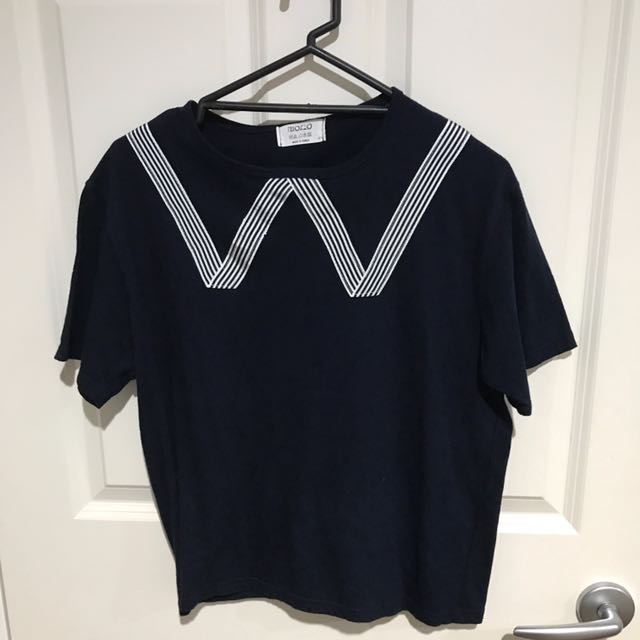 MONO NAVY/WHITE DESIGN TOP