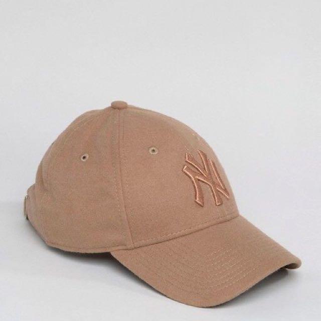 New era cap 刺繡 玫瑰咖 麂皮 洋基帽 老帽