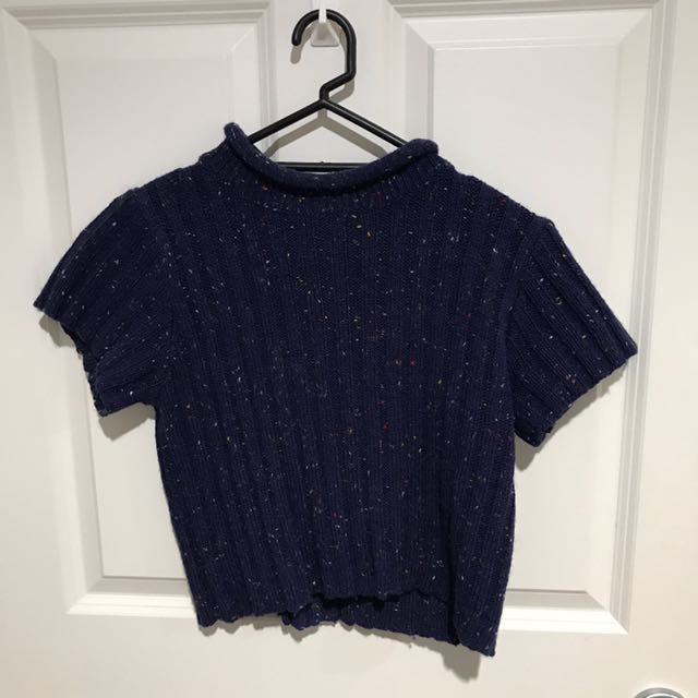 NOBRAND SPECKLED NAVYCROPPED WOOL SHIRT
