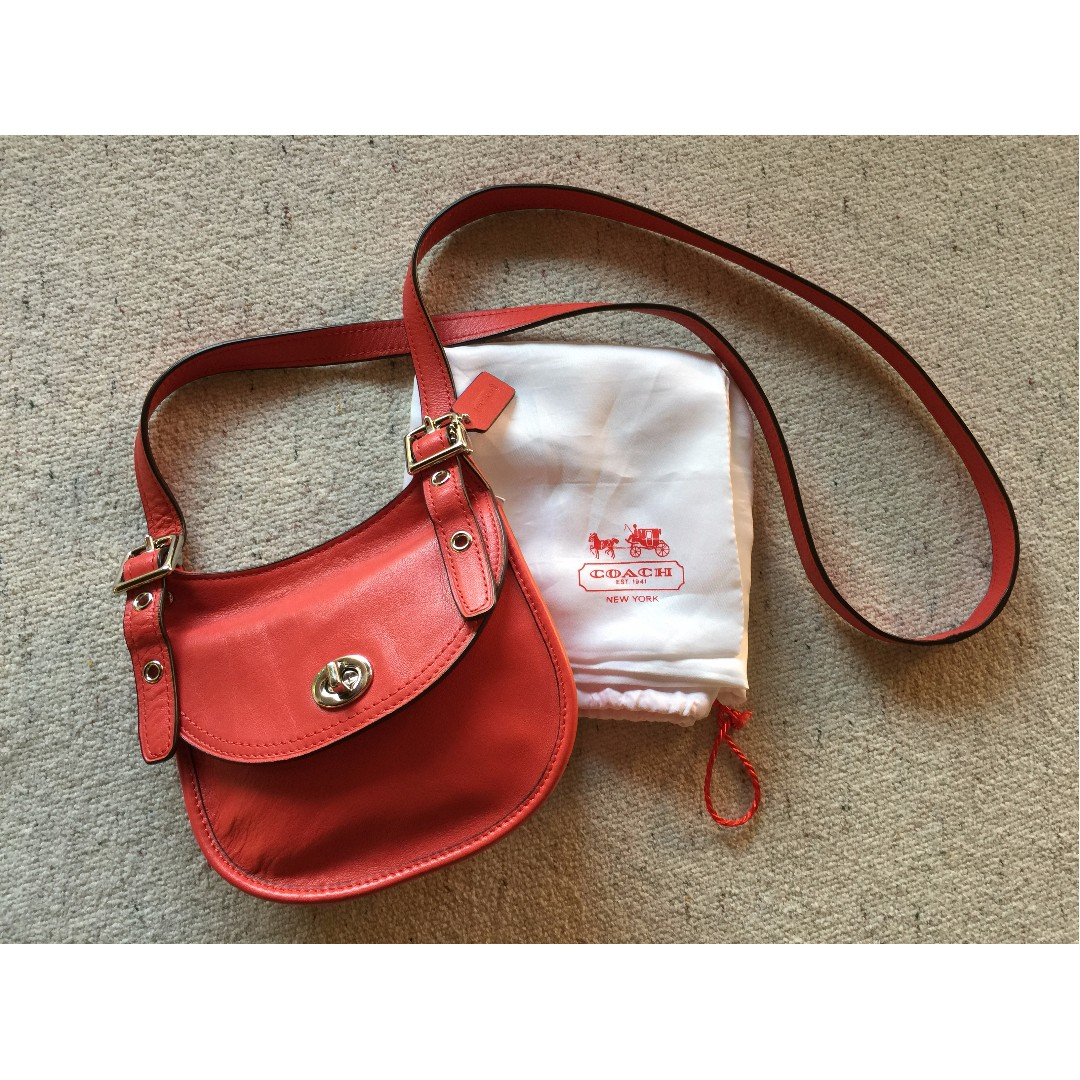 ecd793f3ca4 Sale] NWT Coach Legacy Mini Saddle Shoulder Bag (Carnelian Red ...