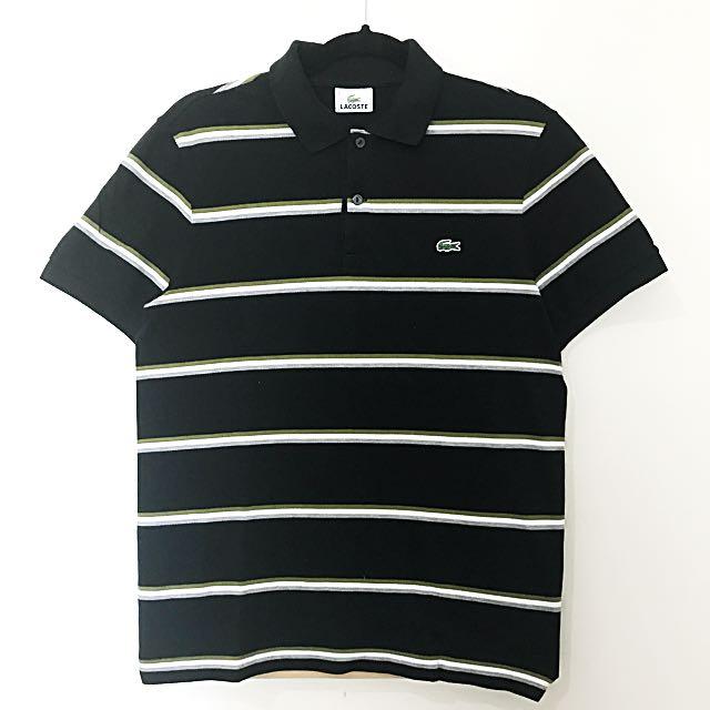 Original Lacoste Black W/ Olive, White And Gray Stripes