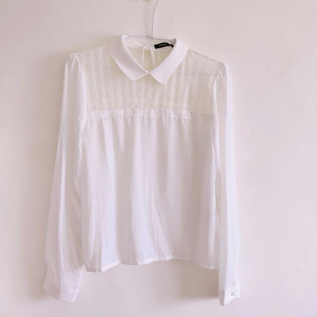 Pazzo 蕾絲拼接雪紡襯衫
