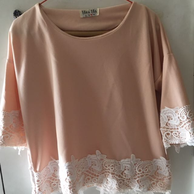 Pretty Pink Blouse With Lace