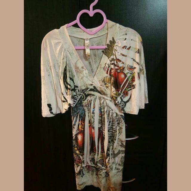 Printed Butterfly style Top