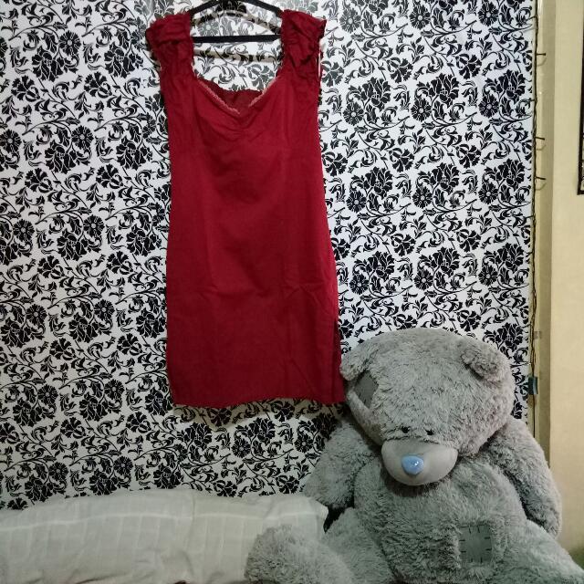 Red Dress W/ Sweetheart Neckline