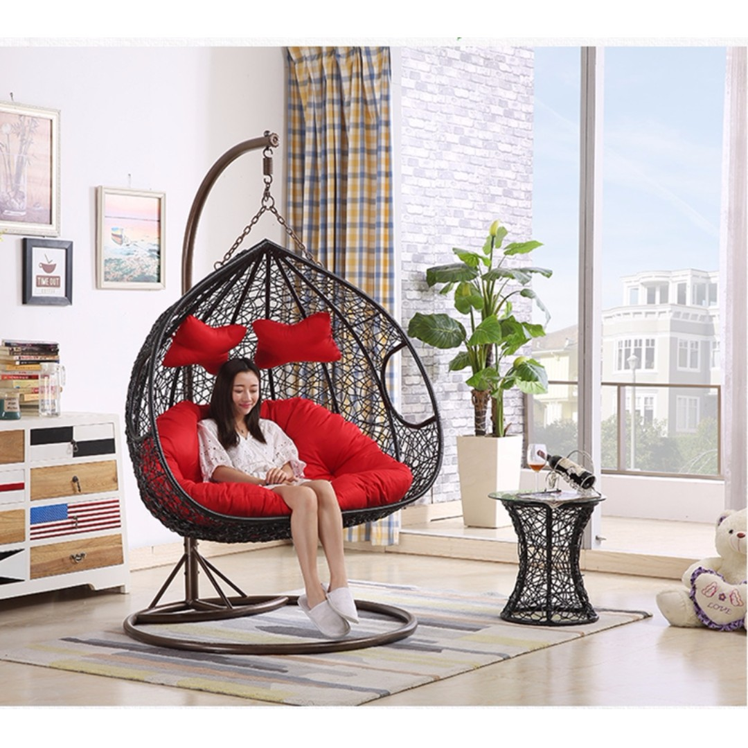 Double Swing Chair Outdoor Hanging Egg Pod Chair Garden Rattan Sofa Outdoor Wicker Chair Hanging Basket Po Furniture Tables Chairs On Carousell