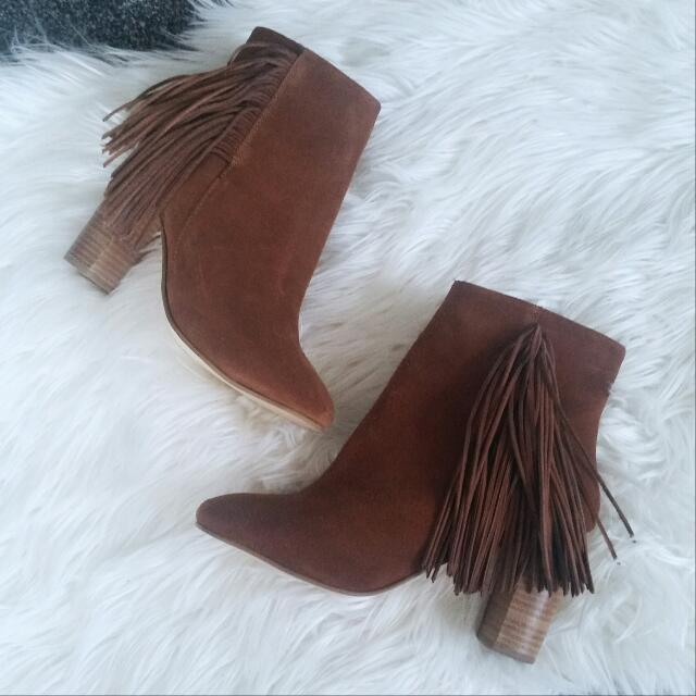 Topshop Brown Suede Boots