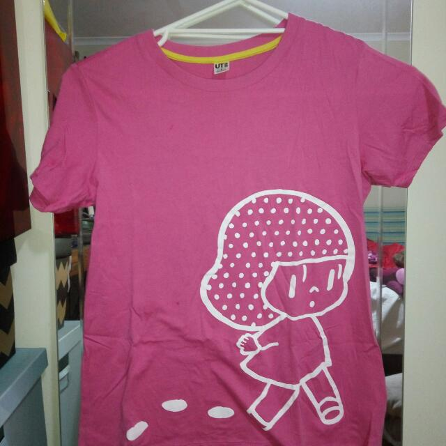 Uniqlo Pink Tee With Girl Print