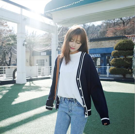 韓系V領撞色學院風百搭修身條紋針織開襟外套
