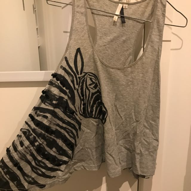 White By Charcoal Zebra Top