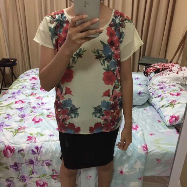 white flowers blouse