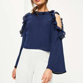 Missguided: Petite Navy Cold Shoulder Blouse