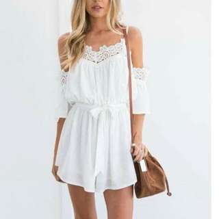 Reina White Cold Shoulder Jumpshorts