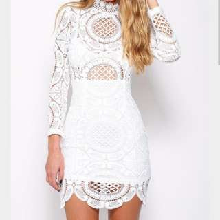 White Long Sleeve Lace Dress - Small