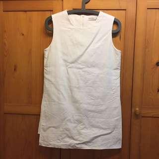 白色麻質連打底裙連身裙