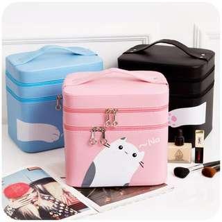 🐳 粉紅色 貓咪雙層化妝箱 双層大容量化妝箱 化妝品收納 手提箱 💗小東西拍賣💗