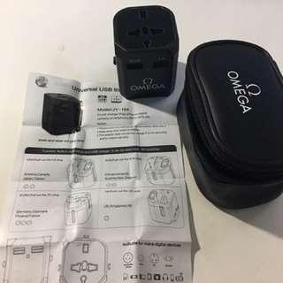 Omega旅行全球轉插器,快速2.4A USB充電