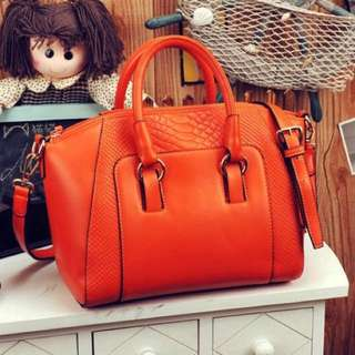 Tangerine Orange Faux Leather Classy Hand Bag With Strap