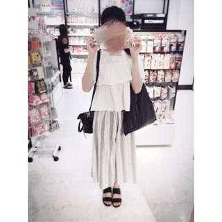 Forever21 棉麻條紋寬褲