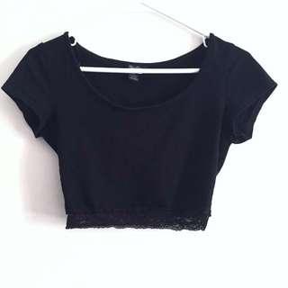 Black Crop top w Lace trim