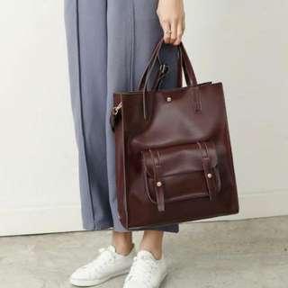 三色 韓國復古質感百搭簡約大容量托特包/手提包/肩背包/斜背包/單肩包