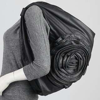 Auth VALENTINO Denim Petale Rose Hobo Bag