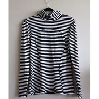 Sz 12 - Lululemon Black and White Striped Turtleneck