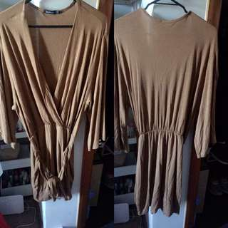 Brown Wrap Front Dress