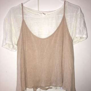 CUTE BEIGE TANKTOP MATCHED WITH WHITE TOP