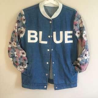 BLUE Denim Top With Floral Printed Sleeves