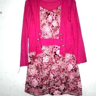 Semi Dress Pink Motif Bunga