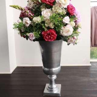 Designer Flower Arrangement In Roman Rhodium Plated Vase
