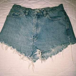 High-waisted American Apparel Denim Shorts