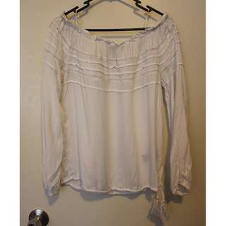 SPORTSGIRL off the shoulder white boho top size 6