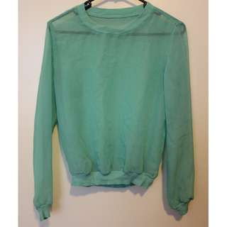American Apparel green chiffon sheer jumper XS