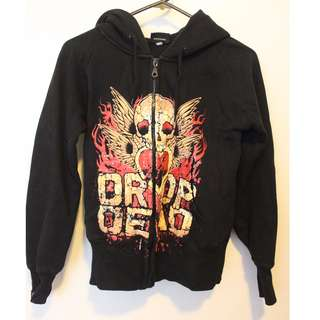 DROP DEAD black design hoodie woman's size XS